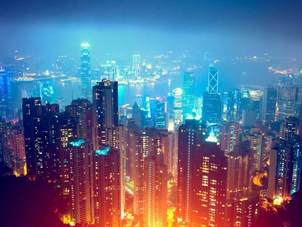 Luftansicht von Hongkong bei Nacht