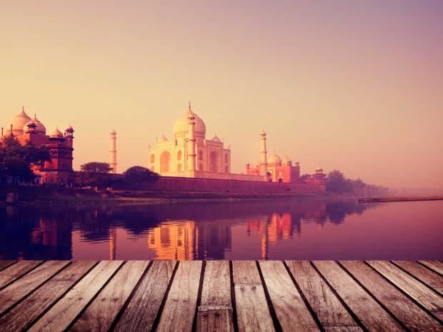 Taj Mahal Indien Wasseransicht